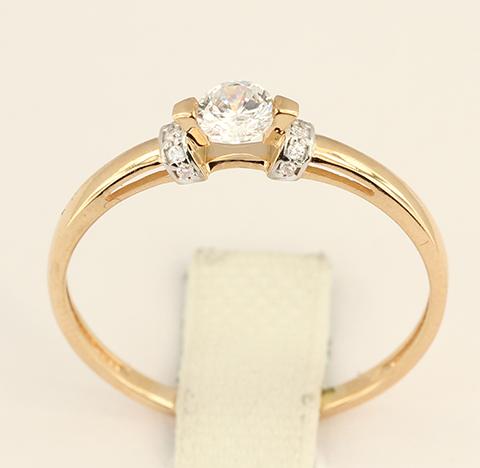 Золотое кольцо женское с камнями Swarovski код- 1000054840415 1