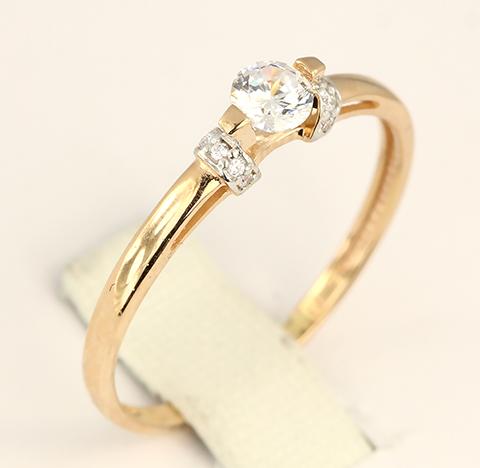 Золотое кольцо женское с камнями Swarovski код- 1000054840415 2