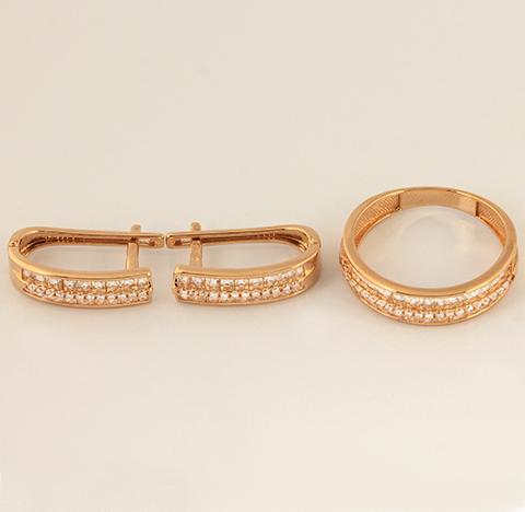 Золотой комплект серьги и кольцо код- 1000080537419 1