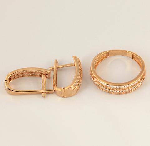 Золотой комплект серьги и кольцо код- 1000080537419 2
