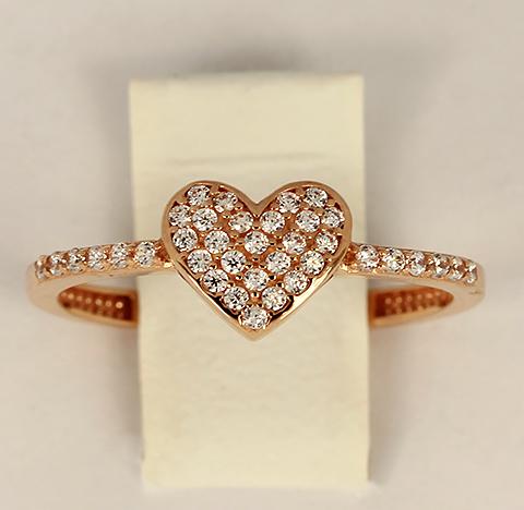 Кольцо с сердечком красное золото с белыми фианитами код- 1000103765027 1