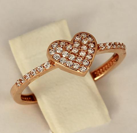 Кольцо с сердечком красное золото с белыми фианитами код- 1000103765027 2